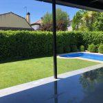Proyecto de jardineria y paisajismo para chalet Madrid. Encinar de los Reyes Frente y piscina